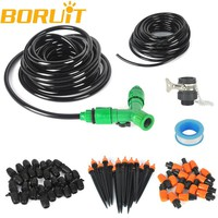 Boruit 2*10m Hose Micro Drip Irrigation Watering System Kits With Adjustable Drippers Sprinkler Fountain For Garden Greenhouse