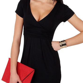 Black Wrap Plunge Short Sleeve Ruched Bodycon Dress