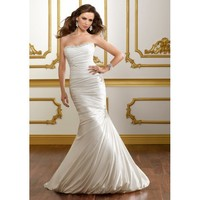 Satin Strapless Mermaid Gown and Pick-up Skirt with Chapel Train 2012 Mermaid Wedding Dress - Basadress.com