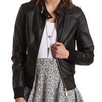 FAUX LEATHER PERFORATED MOTO JACKET