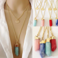 Layered Prism Stone Chain Necklace