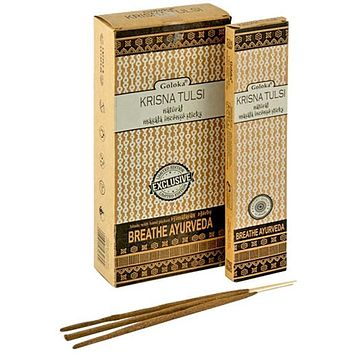 Goloka Krishna Tulsi Natural Masala Incense - 15 Gram Pack (6 Packs Per Box)