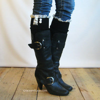 The Lacey Lou Black Open-work Leg Warmers with Ivory knit Lace trim & buttons - Legwarmers (item no. 3-2)