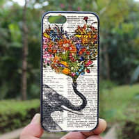 Elephant,flowers heart case,iphone 4 case,iPhone4s case, iphone 5 case,iphone 5c case,Gift,Personalized,water proof