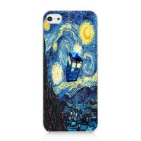 CRHK® Doctor Who Tardis Vincent Van Gogh Pattern Clear Back Skin Snap on Case Cover for 2013 Apple iPhone 5C + Screen Protector + CRHK stylus