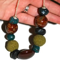 Chunky Earth Tone Necklace, Hippie Choker, Teal, Green and Brown, OOAK