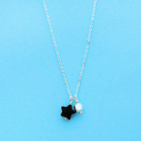 Star, Cute, Minimal, Jewelry, Sterling, Silver, Jewelry, Black, Onyx, Star, Jewelry, Onyx, Necklace, Simple, Pure, Star, Necklace, Gift