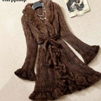 harppihop fur 2017 Slim Long Style Butterfly Sleeve Mink Fur Coat Knitted Natural Jacket