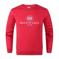 BALENCIAGA Autumn Winter Women Men Casual Print Long Sleeve Sweater Sweatshirt Red