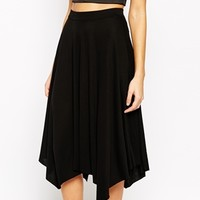 Warehouse Asymmetric Hem Midi Skirt