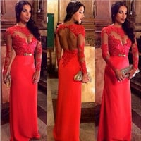 Long Sleeves Lace Bow Backless Long Evening Dress