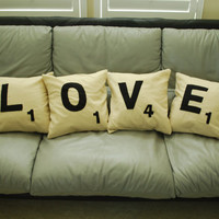 Scrabble Pillow Case 14 x 14  Set of 4 by SimplyPinspirational