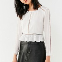 UO Lace-Inset Peplum Top | Urban Outfitters