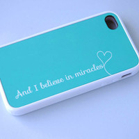 And I Believe in Miracles Personalized Phone Case Song Lyrics in Mint, Rubber Silicone Custom iPhone Case