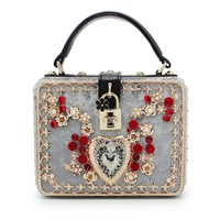 Small Square Diamond Floral Heart Design with Lock Velvet Handbag