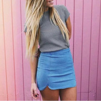 Brandy Melville Women Summer Jeans Mini Skirt