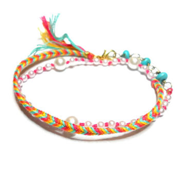 Bohemian double wrap fishtail woven friendship bracelets faux pearls raw turquoise gold wire tassel ends summer spring free people inspired