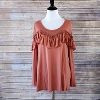 Solid Scoop Neck Top with Ruffle