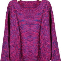 Rose Red Long Sleeve Cable Knit Sweater - Sheinside.com
