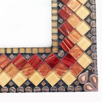 Large Mosaic Wall Mirror // Mixed Media Mosaic // Geometric Wall Decor //  Brown, Copper, Maroon Mirror