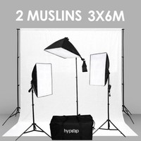 Hypop Rectangle Softbox Boom Arm Kit (Includes: Backdrop Stand And TWO 3x6M Backdrop Muslins)