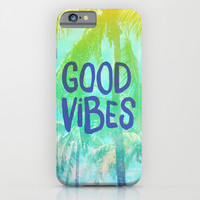 """Turquoise Yellow Green Tropical Palm Trees """"Good Vibes"""" iPhone & iPod Case by Hyakume"""