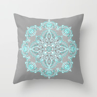 Teal and Aqua Lace Mandala on Grey Throw Pillow by Micklyn
