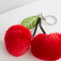 New Look Oversized Faux Fur Cherry Pom Keychain at asos.com