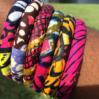 6 Ankara African print Dutch wax kitenge fabric wrapped bangles bangle bracelets set