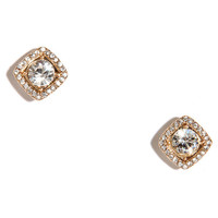 In Square Form Gold Rhinestone Earrings