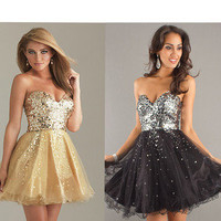 Formal Wedding Bridesmaids Prom Cocktail Party Evening Sequined Dress Homecoming
