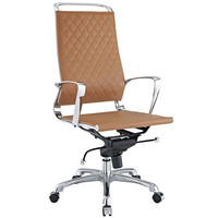 Vibe Modern Leather Highback Office Chair Tan