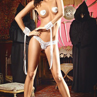 Eyemask Panty and Lace Cuff Set