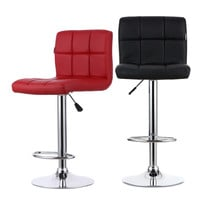 Two Leather Swivel Bar Stools Chairs Height Adjustable Pneumatic Heavy-duty Counter Pub Chair