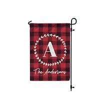 Personalized Farmhouse Buffalo Check Monogram Garden Flag