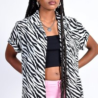 ECH Vintage Zebra Button Up Blouse