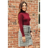 Theodore Turtleneck Top (Dark Burgundy)
