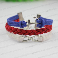 Flag bracelet color and personality, the anchor charm bracelet, infinite charm bracelet, red braided leather bracelet, fashion gift