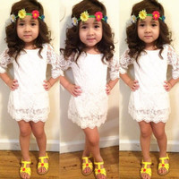 Floral Crochet Girls Baby Kids 3/4 Sleeve Princess Lace Tutu Dress Clothes 2-11Y