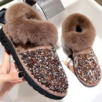 New Brown Round Toe Sequin Fashion Ankle Boots