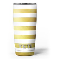 The Gold and White Horizontal Stripes - Skin Decal Vinyl Wrap Kit compatible with the Yeti Rambler Cooler Tumbler Cups