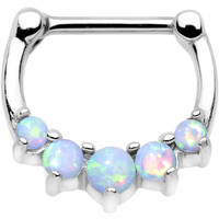 """16 Gauge 5/16"""" White Synthetic Opal Steel Bar Simple Septum Clicker 