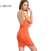 COLROVE Sexy Summer Style Womens Dresses Fashion Hollow Orange Criss Cross Lace Up Backless Spaghetti Strap Mini Bodycon Dress