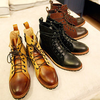 Vintage Lace-Up Boots with Zip