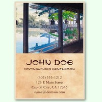 Cool japanese garden lake mountain scenery business cards from Zazzle.com