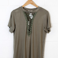 Miriam Lace Up Top, Olive