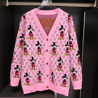 Gucci Mickey Double G Letter Cardigan Coat Pink