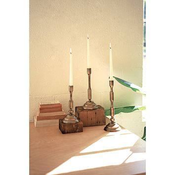Set Of Three Metal Taper Candle Stands - Antique Brass