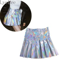Lychee Punk Style Summer Women Harajuku Skirt Holographic Hologram Metallic Skirt Silver Pleated Mini Skirt Saia