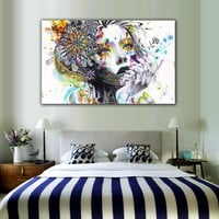 1 Piece Modern Wall Art Girl With Flowers Unframed Canvas Painting For Home Bedroom Art Wall Decoration Wall Pictures LZ003